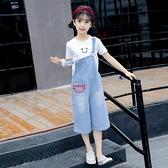 女童七分牛仔背帶短褲子夏裝套裝薄2020新款洋氣時髦兒童中大闊腿 童趣
