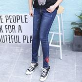 中大尺碼~刺繡鏤空水洗牛仔褲(XL~4XL)