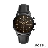 FOSSIL TOWNSMAN 咖啡錶面黑色皮革男錶 44mm