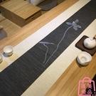 日式茶席桌旗禪意手繪茶席茶桌布茶簾茶墊茶布茶旗【匯美優品】