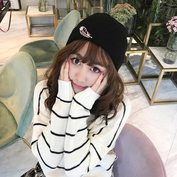 毛帽 刺繡 針織 保暖 毛線帽 混色 針織帽 【YJA286】 BOBI 12/21