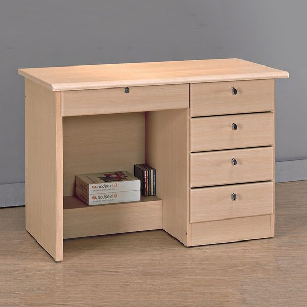 【森可家居】白橡3.5尺四抽書桌(下座) 8JX551-6