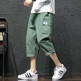 工裝褲夏季新款七分褲男直筒寬鬆日系闊腿青少年7分褲大碼潮牌工裝短褲 coco衣巷
