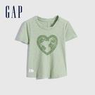 Gap女幼童 環保標語印花純棉短袖T恤 958588-煙綠色