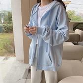 2021秋冬新款天藍色加絨衛衣女加厚運動外套寬鬆韓版拉鏈開衫上衣 【年貨大集Sale】