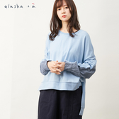 a la sha+a  輕鬆寬版袖剪接前短後長上衣