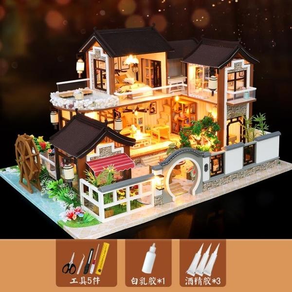 3d立體拼圖木質模型女孩玩具屋少女房子