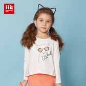 JJLKIDS 女童 時尚潮童俏皮小狐狸上衣(乳白)