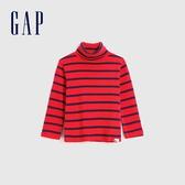 Gap男幼童 簡約風格純色高領長袖T恤 617808-紅色條紋