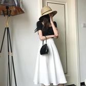 套装 新款港味復古方領短袖T恤 高腰半身仙女傘裙兩件套裝