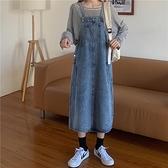 洋裝 牛仔慵懶風背帶裙女秋季洋氣減齡韓版復古百搭長款過膝吊帶連衣裙 歐歐