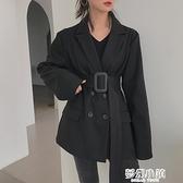boccalook赫本風黑色西裝毛呢外套大衣女長款風衣大碼秋冬季加厚 新年钜惠