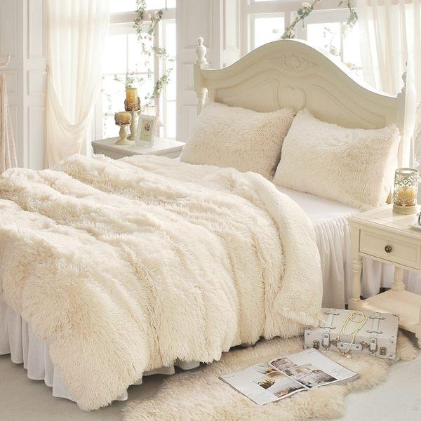 法蘭絨床罩組 加大雙人床罩組 白色 羊羔絨 6尺 加絨雙人床罩 法蘭絨 床組 兩用被毯 訂製 刷毛