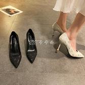 高跟鞋女百搭仙女風新款春季尖頭淺口女鞋細跟法式氣質高跟鞋女【中秋鉅惠】