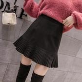 毛呢百褶裙女秋冬新款高腰外穿a字蓬蓬裙學生黑色短裙半身裙HX1617【花貓女王】