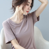 短袖T恤 莫代爾短袖t恤女寬松夏季黑色顯瘦上衣體恤圓領純色T恤2020新款