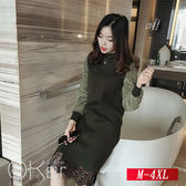 中大尺碼 秋冬寬鬆蕾絲拼接針織洋裝 M-4XL O-Ker歐珂兒 156665-C