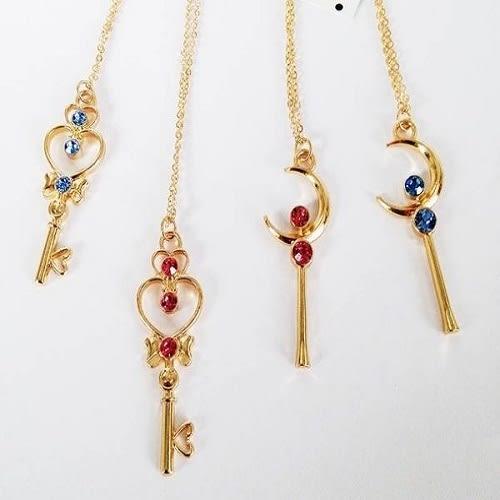 Star 日韓系列 - 美少女戰士 月亮鑰匙點鑽少女心形吊墜項鏈