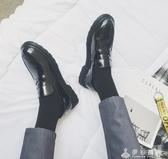 日系復古小皮鞋韓國休閒套腳樂福鞋潮英倫黑色圓頭馬丁鞋港風男鞋   伊衫風尚