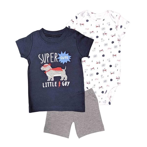 男寶寶套裝三件組 短袖包屁衣+T恤上衣+短褲 深藍狗 | Carter s卡特童裝 (嬰幼兒/小孩/baby)