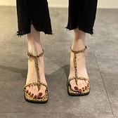 超仙女風小眾時裝涼鞋女夏中跟2021年新款豹紋高跟淑女羅馬粗跟鞋 格蘭小鋪