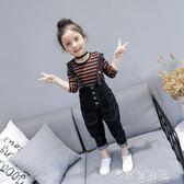 春秋裝中小童兒童條紋長袖T恤 紐扣牛仔吊帶褲女童寶寶套裝 时尚潮流