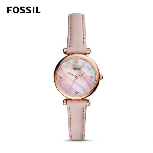 FOSSIL CARLIE MINI 粉色星星迷你皮革女錶 28mm ES4525