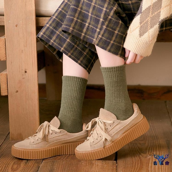 4雙裝 中筒襪女秋冬季純棉加厚加絨保暖毛巾襪【古怪舍】