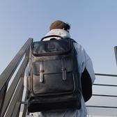 男休閒包 簡約時尚韓版雙肩包 街頭潮男皮質雙肩包 戶外休閒背包學生書包潮 快速出貨