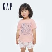 Gap女幼童 Gap x Disney 迪士尼系列純棉短袖T恤 689335-淡粉色