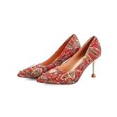 婚鞋女新款鉚釘紅色高跟鞋