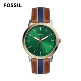 FOSSIL MINIMALIST 駝x藍色條紋極薄款皮革男錶 44mm FS5550