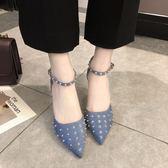 韓版一字扣帶性感鉚釘女鞋尖頭中空涼鞋細跟高跟單鞋 格蘭小舖