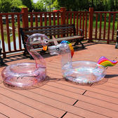 梨卡 - 獨家新款全透明亮片閃亮亮充氣火烈鳥獨角獸游泳圈 M170