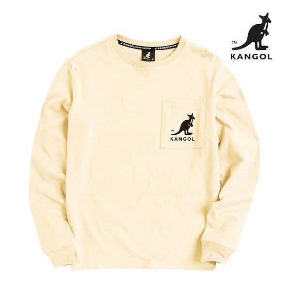 KANGOL 袋鼠 - 口袋刺繡袋鼠長T 奶油黃【60551047】