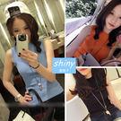 【V1057】shiny藍格子-生活品味‧純色圓領修身針織無袖背心上衣
