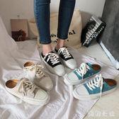 穆勒鞋•韓國2019新款方頭平底系帶拼色休閒一腳蹬女鞋拖鞋懶人鞋CC3737『美鞋公社』