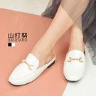 穆勒鞋 復古金飾皮革方頭鞋拖鞋-山打努SANDARU【107D715#46】