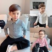 辰辰媽童裝男童Polo衫小童寶寶翻領坑紋兒童秋裝時尚百搭長袖t恤 【蜜斯蜜糖】