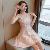 裙子女夏新品時尚氣質無袖修身顯瘦溫柔裙收腰羽毛流蘇連身裙 【快速出貨】