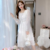 洋裝仙女裙甜美S-2XL新款法式女神仙女裙長袖收腰鏤空顯瘦連身裙T613-990.胖胖唯依
