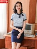 職業套裝夏季蝴蝶結襯衫短袖工裝美容師工作服女裙裝時尚餐廳襯衣 新北購物城