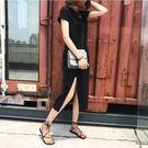 短袖女裝洋裝夏季新款修身顯瘦黑色長款打底...