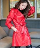 卡樂store...中大尺碼韓版皮衣批發零售長版PU皮皮衣外套附腰帶紅色 M-5XL #oi12078