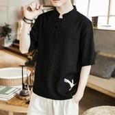 優一居 棉麻上衣男 中國風刺繡復古短袖t恤(3色 M-5XL)