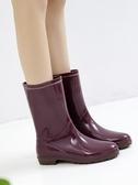 日式雨鞋女中筒雨靴時尚水靴可保暖冬季防水膠鞋防滑水鞋套鞋 韓國時尚週