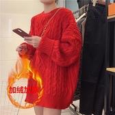 毛衣女寬鬆麻花套頭中長款秋冬針織衫【少女顏究院】