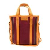 【台中米蘭站】全新品 BALENCIAGA Bazar XS 直式拉鍊手提斜背兩用包(452458-黃/紅)