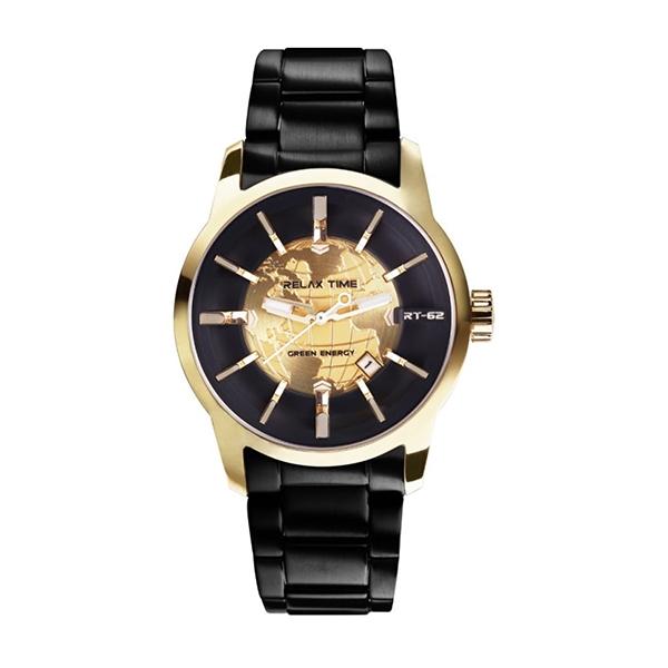 【Relax Time】人動電能系列地球立體時標時尚機械腕錶-香檳金/RT-62K-3/台灣總代理公司貨享一年保固