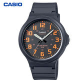 CASIO 卡西歐 大錶面數字指針膠帶錶 40mm 橘 MW-240-4B 防水 學生錶 數字錶 當兵軍用錶 公司貨